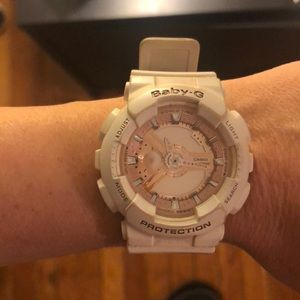 Casio Baby G watch white and rose gold